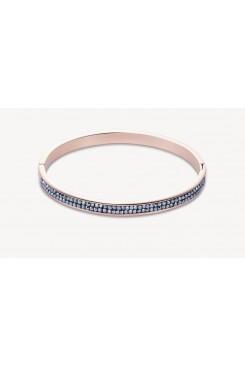 COEUR DE LION Rose Gold Stainless Steel Hematite Pavé Set Bangle 17cm  0214/33-1223