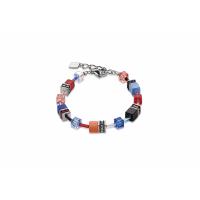 COEUR DE LION Geo Cube Denim Blue and Orange Bracelet 2838/30-1559