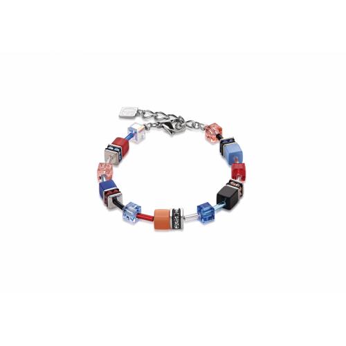 Coeur De Lion Geo Cube Denim Blue And Orange Bracelet 2838