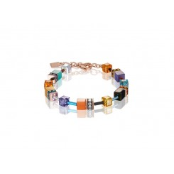 COEUR DE LION Geo Cube Bright Turquoise, Purple & Orange Bracelet 2838/30-1575