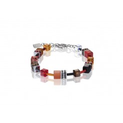 COEUR DE LION Geo Cube Warm Orange and Red Bracelet 2838/30-0302