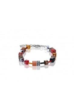 COEUR DE LION Geo Cube Warm Orange and Red Bracelet 2838/30-0302