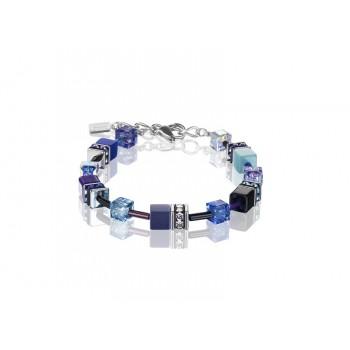 COEUR DE LION Geo Cube Navy Blue Purple Bracelet 2838/30-0708