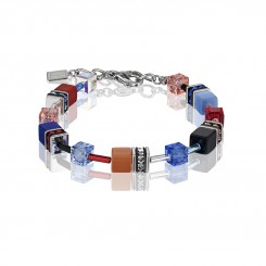 COEUR DE LION Geo Cube Denim Blue and Orange Bracelet 2838/30-1559