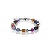 COEUR DE LION Geo Cube Navy Blue Amber Magenta Bracelet 2838/30-1567