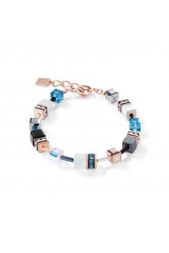 COEUR DE LION Geo Cube Rose Gold, White & Turquoise Bracelet 4013/30-0624