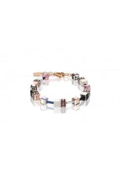 COEUR DE LION Geo Cube Pink, White, Silver and Black Bracelet 4013/30-1920