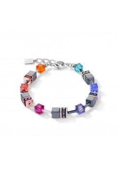 COEUR DE LION Geo Cube Hematite Multicolour Bracelet 4015/30-1500