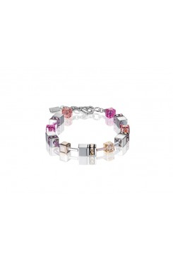 COEUR DE LION Geo Cube Silver Pink Champagne and Rose Gold Bracelet 4015/30-0227