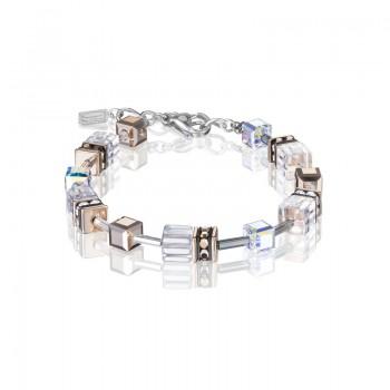 COEUR DE LION Geo Cube Clear & Rose Gold Bracelet 4015/30-1822