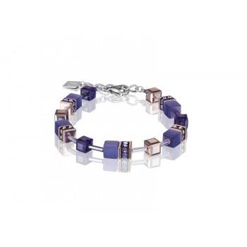 COEUR DE LION Geo Cube Rose Gold and Amethyst Purple Bracelet 4016/30-0800