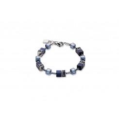 COEUR DE LION Geo Cube Haematite Navy Bracelet 4322/30-0722