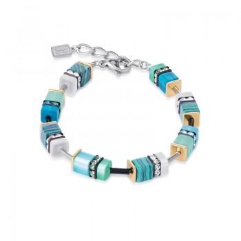 COEUR DE LION Geo Cube Malachite Turquoise Bracelet 4746/30-0605