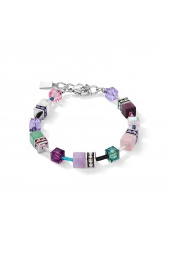 COEUR DE LION Geo Cube Amethyst Aventurine Rose Quartz Howlite Bracelet 4905/30-0840