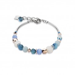 COEUR DE LION Mother of Pearl & Swarovski Crystals & Amazonite & Striped Agate Turquoise-Blue Bracelet 4914/30-0607