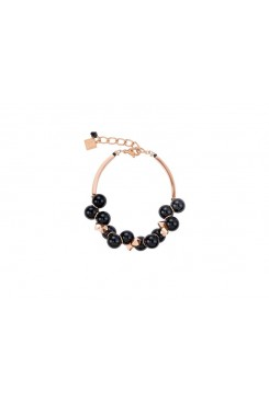 COEUR DE LION Swarovski Glossy Black & Rose Gold Bracelet 4937/30-1300