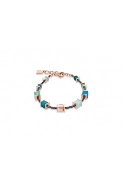 COEUR DE LION Geo Cube Vibrant Turquoise, Muted Green & Rose Gold Bracelet 4945/30-0626