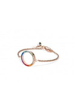 COEUR DE LION Swarovski Multi Coloured Circle Pendant Bracelet 4957/30-1500