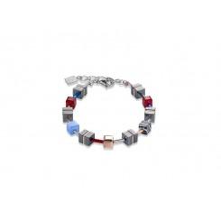 COEUR DE LION Geo Cube Hematite Cornflower Blue & Red Wine Bracelet 4964/30-0307