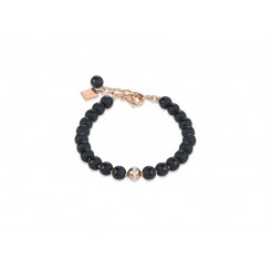 COEUR DE LION  Matte & Polished Onyx Rose Gold Bracelet 4971/30-1620