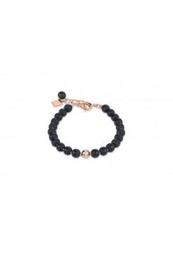 COEUR DE LION  Matte & Polished Onyx Rose Gold Bracelet 4971/30-1620