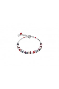 COEUR DE LION  Geo Cube Fine Grey, White & Warm Red Bracelet 4977/30-0300