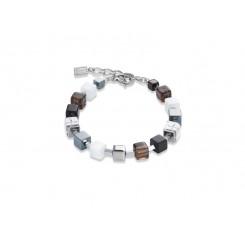 COEUR DE LION Geo Cube Smoky Quartz White & Black Bracelet 4984/30-1700