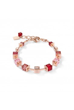COEUR DE LION Geo Cube Soft Pinks & Red Bracelet 4996/30-0300