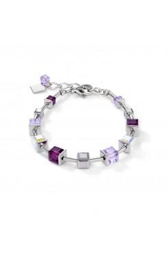 COEUR DE LION Geo Cube Amethyst & White Bracelet 4996/30-0824