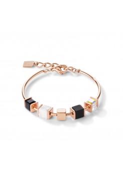 COEUR DE LION Geo Cube Natural Onyx Howlite Bracelet 5052/30-1314