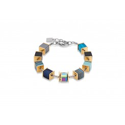 COEUR DE LION Geocube Swarovski Crystal Turquoise and Blue Malachite Bracelet 4747/30 - 0607