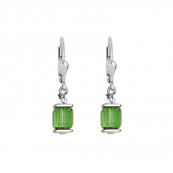 COEUR DE LION Cube Drop Earrings with Swarovski Crystals Green 0094/20-0523