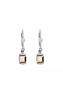 COEUR DE LION Cube Drop Earrings with Swarovski Crystals Rose Gold 0094/20-1620