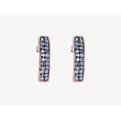 COEUR DE LION Rose Gold Stainless Steel Hematite Pavé Set Earrings 0214/21-1223