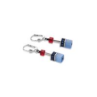 COEUR DE LION Geo Cube Denim Blue and Orange Earrings 2838/20-1559