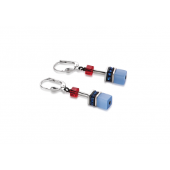COEUR DE LION Geo Cube Denim Blue and Orange Earrings 2838/20-1559