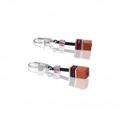 COEUR DE LION Geo Cube Red Rose Beige Earrings 2838/20-0326