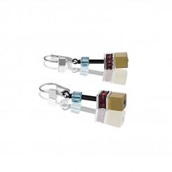 COEUR DE LION Geo Cube Vintage Khaki, Turquoise and Purple Earrings 2838/20-1560