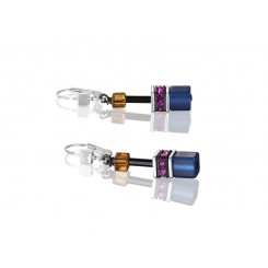 COEUR DE LION Geo Cube Navy Blue Amber Magenta Earrings 2838/20-1567