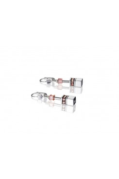 COEUR DE LION Geo Cube Silver Pink Champagne and Rose Gold Earrings 4015/20-0227