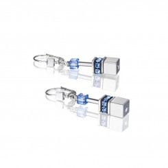 COEUR DE LION Geo Cube Silver & Cool Blue Earrings 4015/20-0705