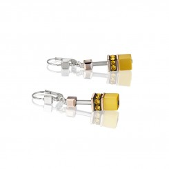 COEUR DE LION Geo Cube Vibrant Yellow Earrings 4016/20-0100