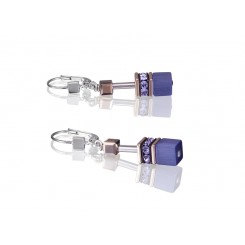 COEUR DE LION Geo Cube Rose Gold and Amethyst Purple Earrings 4016/20-0800