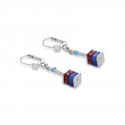 COEUR DE LION Geo Cube Swarovski Crystals Small Blue Red Earrings 4409/20-0703