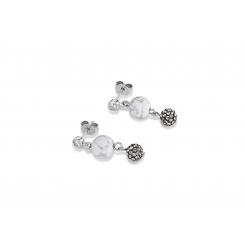 COEUR DE LION Swarovski Howlite Agate White Earrings 4845/21-1214