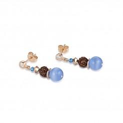COEUR DE LION Frontline Crystals & Crystal Pearls by Swarovski & Rock Crystal Blue-Brown Earrings 4864/21-0711