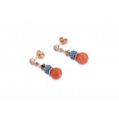 COEUR DE LION Swarovski Pearls Rock Crystal Orange Blue Earrings 4864/21-2002