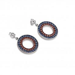 COEUR DE LION Swarovski Navy Red Circle Pendant Earrings 4878/21-0703