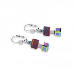 COEUR DE LION Geo Cube Haematite Malachite Multicolour Small Earring 4882/20-1500