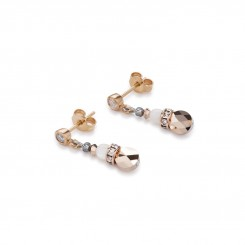 COEUR DE LION Mother of Pearl & Swarovski Crystals & Rose Quartz & Agate Beige-Rose Earrings 4914/21-1019